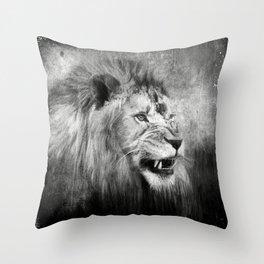 Grunge Snarling Lion Throw Pillow
