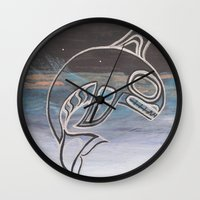 killer whale Wall Clocks featuring Killer Whale  by JessaDee`Designs