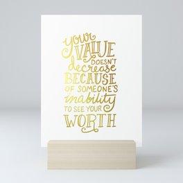 Your Value Quote - Hand Lettering Faux Gold Foil Mini Art Print