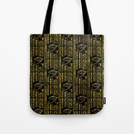 Eye of Horus and Egyptian hieroglyphs pattern Tote Bag