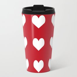 Hearts red and white minimal valentines day love gifts minimal gender neutral Travel Mug