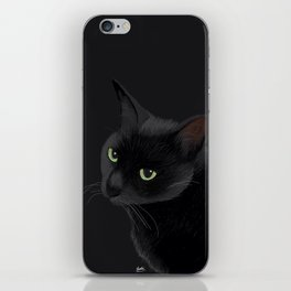 Black cat in the dark iPhone Skin
