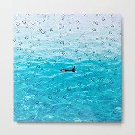Orca Whale gliding through the water on a rainy day Metal Print