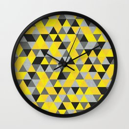 Sunny Yellow and Grey / Gray - Hipster Geometric Triangle Pattern Wall Clock