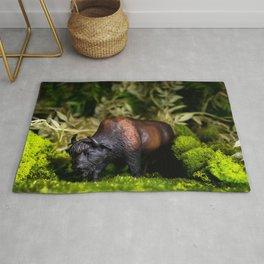 A Bison/Buffalo in lush greenery Rug