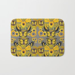 CONTEMPORARY MONARCH BUTTERFLY SUNFLOWERS MONTAGE Bath Mat