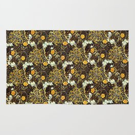 William Morris Variation Tangerine and Brown Rug