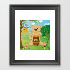 Baer with honey Framed Art Print