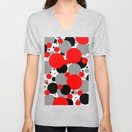 Red Polka Dots Unisex V-Neck