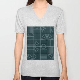 My Favorite Geometric Patterns No.26 - Green Tinted Navy Blue Unisex V-Neck