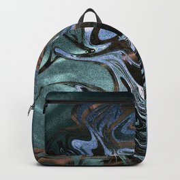 Marble Paint Swirl Trendy Abstract Glitter Teal Turquoise Copper Bronze Backpack