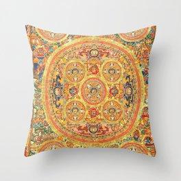 Buddhist Mandala 44 Five Circles Throw Pillow