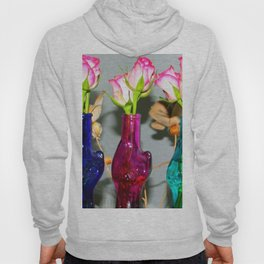 Pink Roses In Cat Shaped Vases Hoody