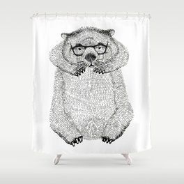 Wombat with glasses Shower Curtain