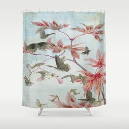 Maple And Butterflies Shower Curtain