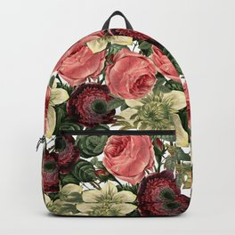 Vintage & Shabby Chic - Pink and Red Roses Retro Flower Garden Pattern Backpack