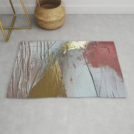 Darling [2]: a minimal, abstract mixed-media piece in pink, white, and gold by Alyssa Hamilton Art Rug
