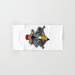 Gangsta pencil with guns illustration. Yellow pen with bandana mask on face, criminal t-shirt print. Hand & Bath Towel