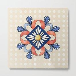 Flower and Ribbon Mandala Metal Print