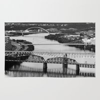 pittsburgh Area & Throw Rugs featuring Pittsburgh bridges by Jaclyn Scott
