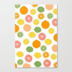 Orange Grapefruit Lemon Lime Citrus Pattern Canvas Print
