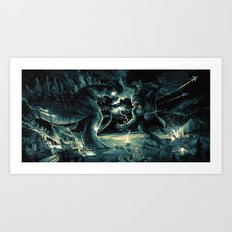 Godzilla vs Kingkong Blue Yellow Art Print
