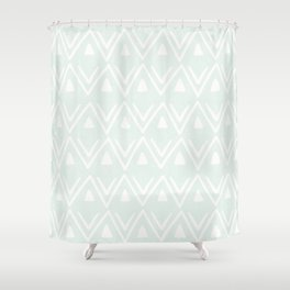 Etched Zig Zag Pattern in Mint Shower Curtain
