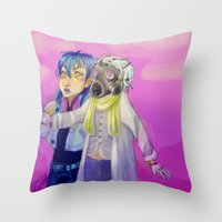 dmmd Throw Pillows featuring Watch out! Clear and Aoba by Mottinthepot