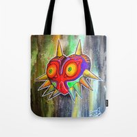 majora Tote Bags featuring Majora mask by Lyxy
