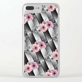 Small Floral Sprays on Mirrored Facets Clear iPhone Case