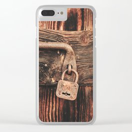 Rustic Old Wooden Door and Lock Clear iPhone Case