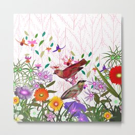 Colorful pink purple floral bird illustration Metal Print