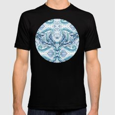 Lily, Leaf & Triangle Pattern – blues Black MEDIUM Mens Fitted Tee