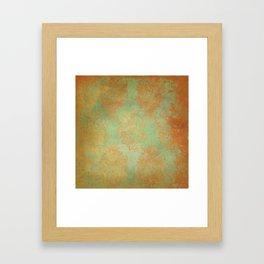 Grunge Garden Canvas Texture:  Gold and Green Baroque Nature Print Framed Art Print