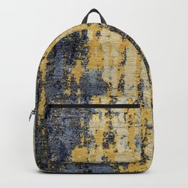 Blue Gold Oriental Rug Print Backpack