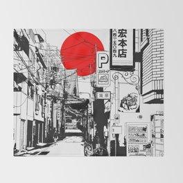 Tokyo street sunrise Throw Blanket