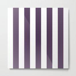 Old heliotrope violet - solid color - white vertical lines pattern Metal Print