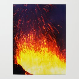 Eruption volcano - fountain, fireworks lava erupting from crater Poster