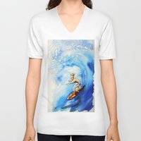 surfer V-neck T-shirts featuring Surfer by Jose Luis Ocana