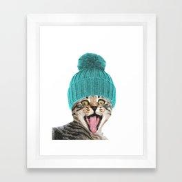 Cat with hat illustration Framed Art Print