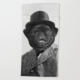Sir Winston Pug Churchill Beach Towel