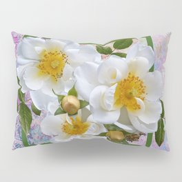 White Flowers with Inset Pillow Sham