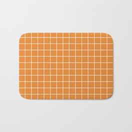 Cadmium orange - orange color - White Lines Grid Pattern Bath Mat