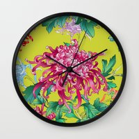 oriental Wall Clocks featuring Oriental Flowers by Chicca Besso