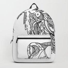 Brown Bear Head Doodle Backpack