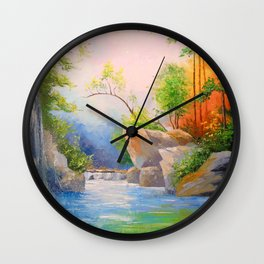 Waterfall in the woods Wall Clock