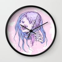 gore Wall Clocks featuring Pastel Gore Girl by Savannah Horrocks