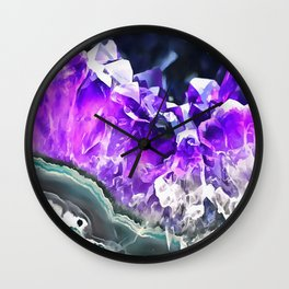 Purple Agate Crystal Wall Clock