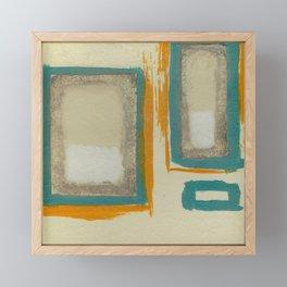Soft And Bold Rothko Inspired - Corbin Henry Modern Art - Teal Blue Orange Beige Framed Mini Art Print