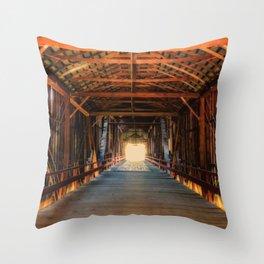 Into the Light Honey Run Bridge Throw Pillow